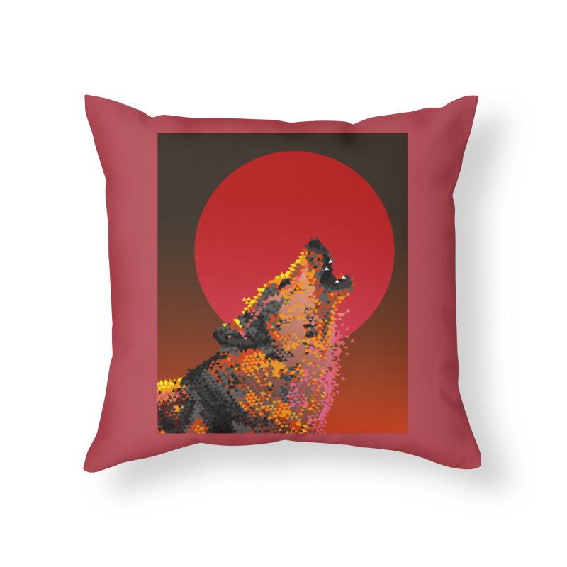 red moon rising Home Throw Pillow by okik's Artist Shop
