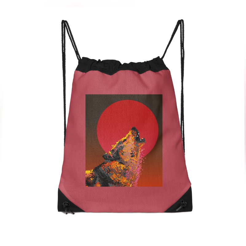 red moon rising Accessories Drawstring Bag Bag by okik's Artist Shop