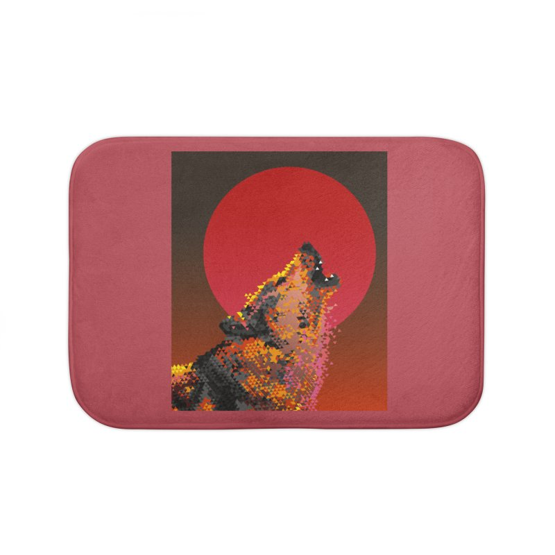 red moon rising Home Bath Mat by okik's Artist Shop