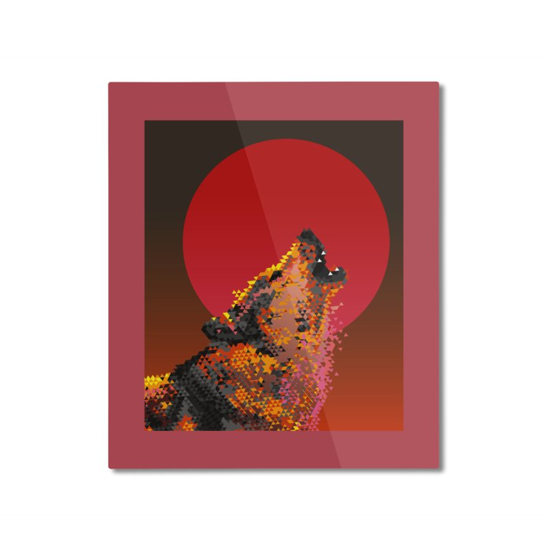 red moon rising Home Mounted Aluminum Print by okik's Artist Shop