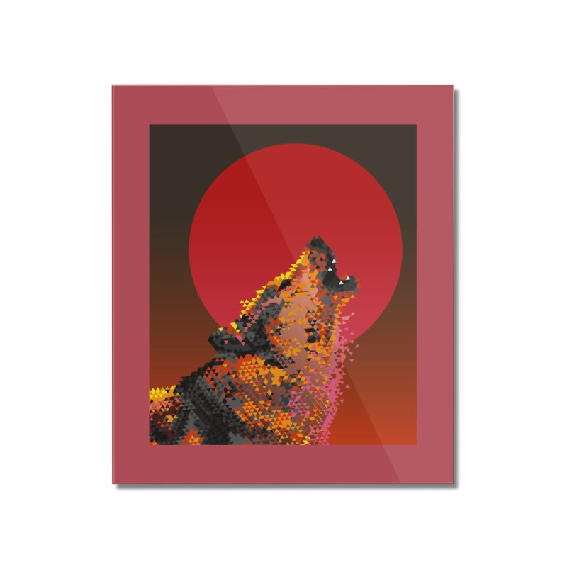 red moon rising Home Mounted Acrylic Print by okik's Artist Shop