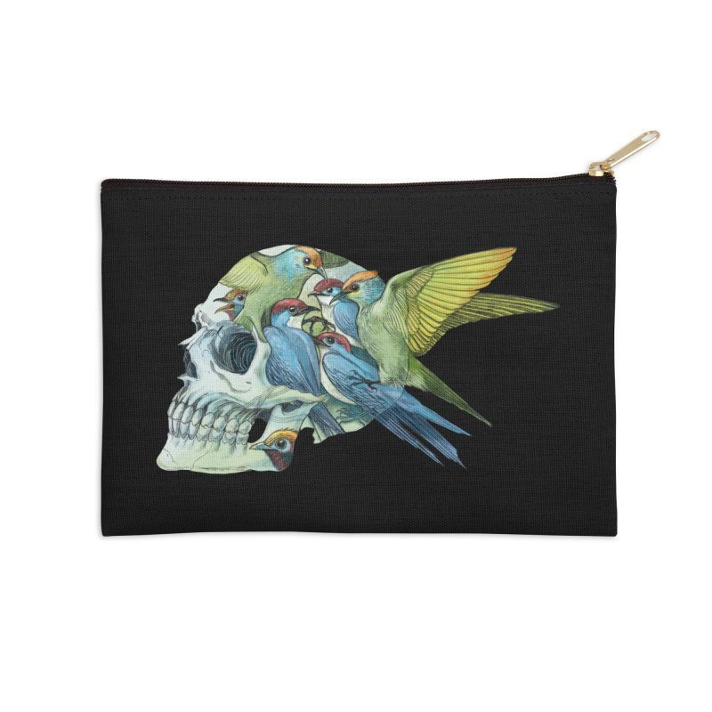 Skull Birds Accessories Zip Pouch by oktopussapiens's Artist Shop