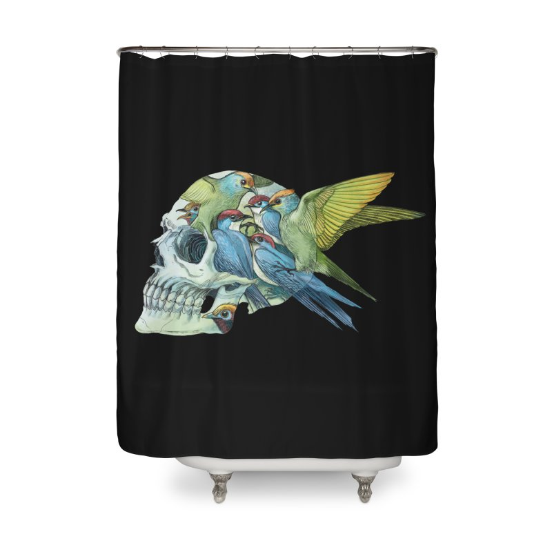 Skull Birds Home Shower Curtain by oktopussapiens's Artist Shop