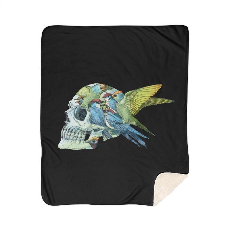 Skull Birds Home Sherpa Blanket Blanket by oktopussapiens's Artist Shop