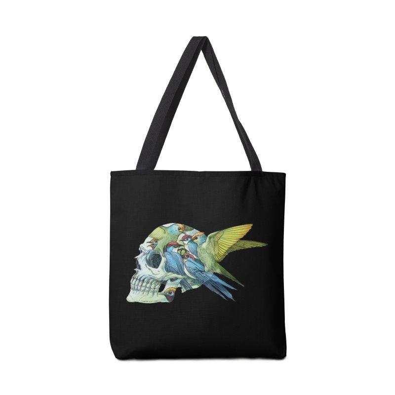 Skull Birds Accessories Tote Bag Bag by oktopussapiens's Artist Shop