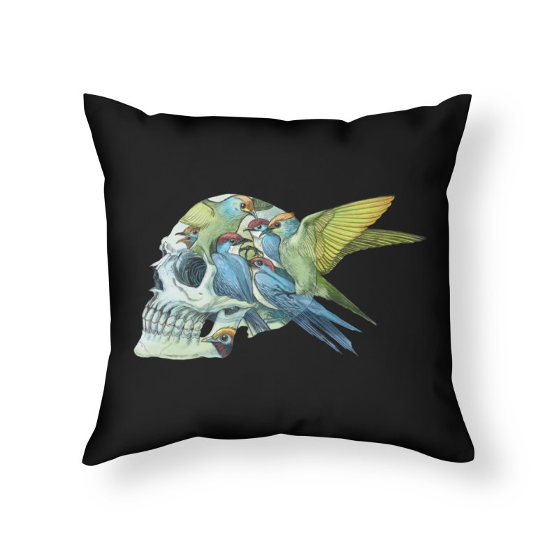 Skull Birds Home Throw Pillow by oktopussapiens's Artist Shop