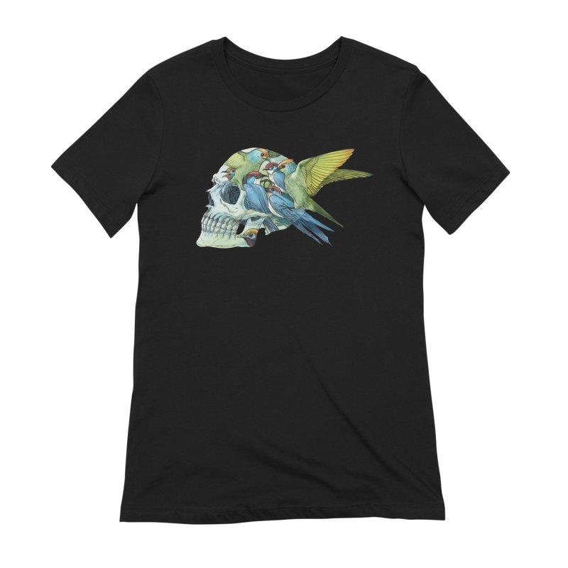 Skull Birds Women's Extra Soft T-Shirt by oktopussapiens's Artist Shop