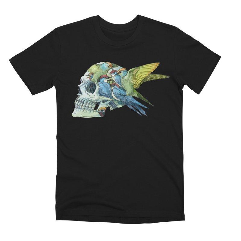 Skull Birds Men's Premium T-Shirt by oktopussapiens's Artist Shop