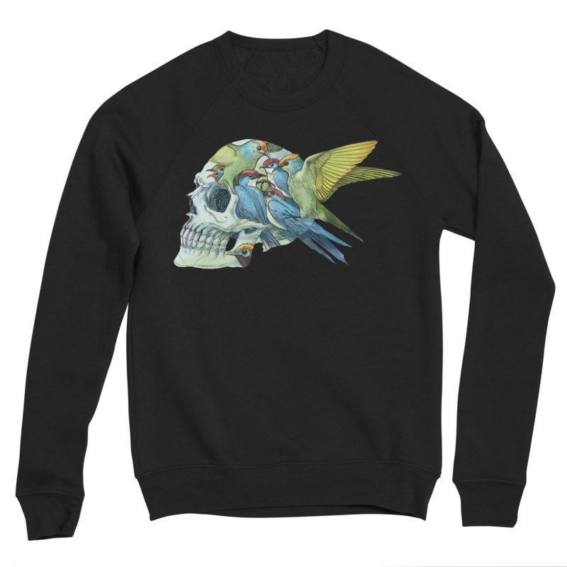 Skull Birds Men's Sponge Fleece Sweatshirt by oktopussapiens's Artist Shop