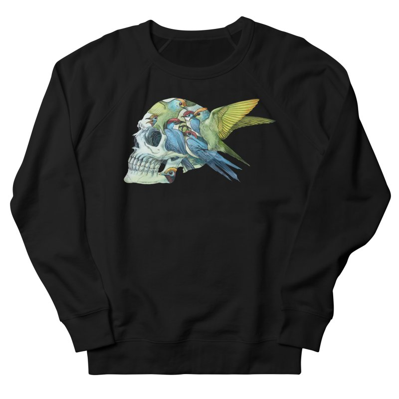 Skull Birds Women's French Terry Sweatshirt by oktopussapiens's Artist Shop