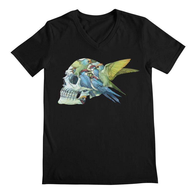 Skull Birds Men's Regular V-Neck by oktopussapiens's Artist Shop