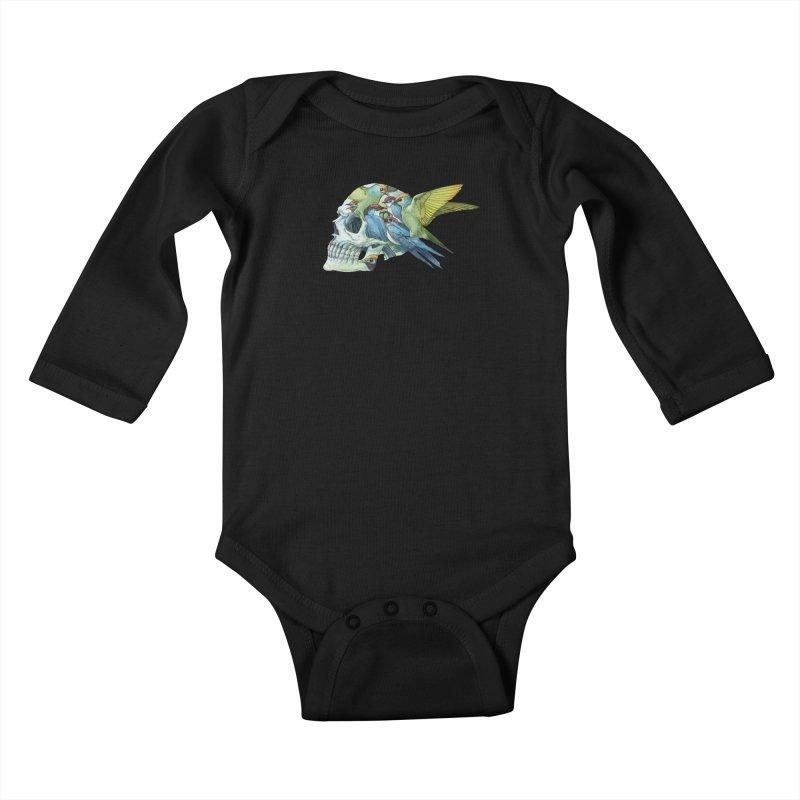 Skull Birds Kids Baby Longsleeve Bodysuit by oktopussapiens's Artist Shop