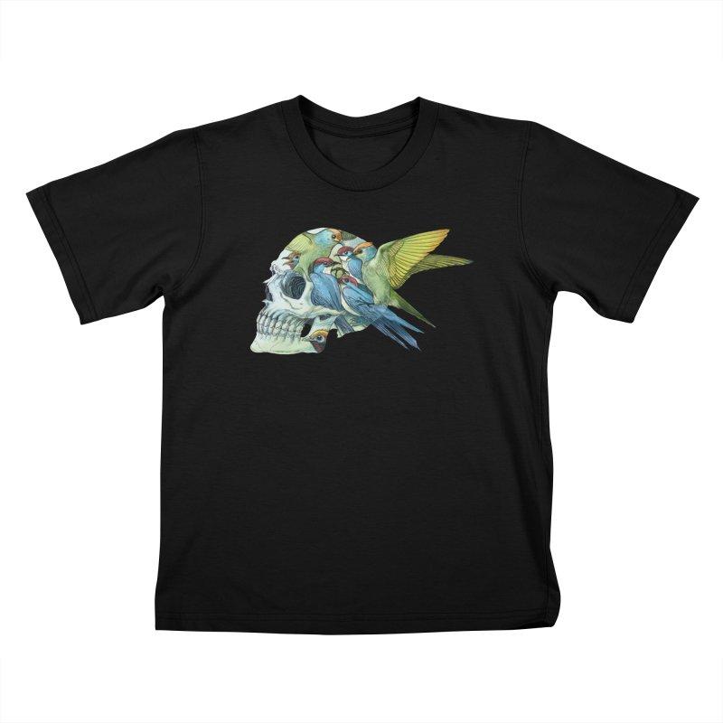 Skull Birds Kids T-Shirt by oktopussapiens's Artist Shop
