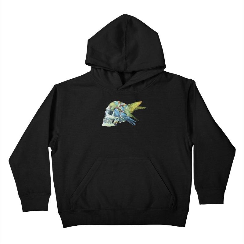 Skull Birds Kids Pullover Hoody by oktopussapiens's Artist Shop