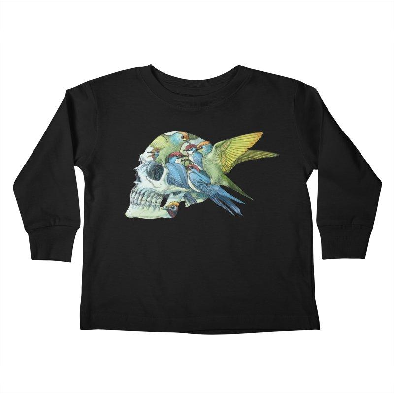 Skull Birds Kids Toddler Longsleeve T-Shirt by oktopussapiens's Artist Shop