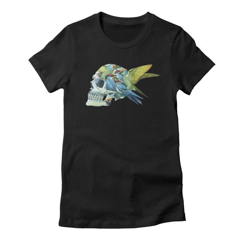 Skull Birds Women's Fitted T-Shirt by oktopussapiens's Artist Shop