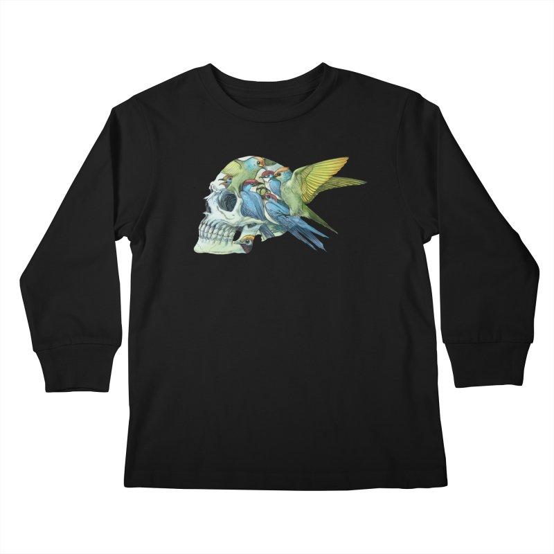 Skull Birds Kids Longsleeve T-Shirt by oktopussapiens's Artist Shop