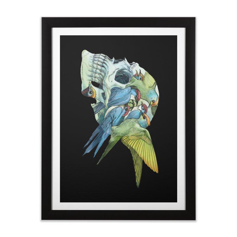 Skull Birds Home Framed Fine Art Print by oktopussapiens's Artist Shop