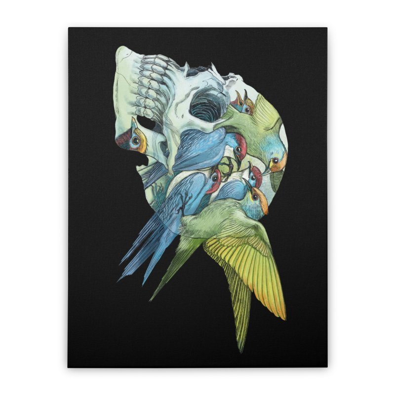 Skull Birds Home Stretched Canvas by oktopussapiens's Artist Shop