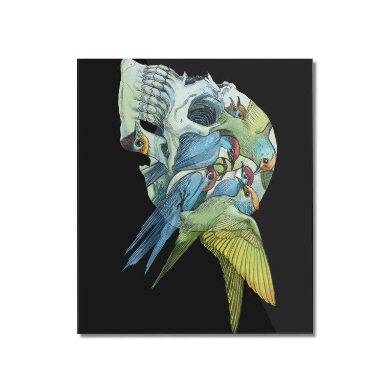 Skull Birds Home Mounted Acrylic Print by oktopussapiens's Artist Shop