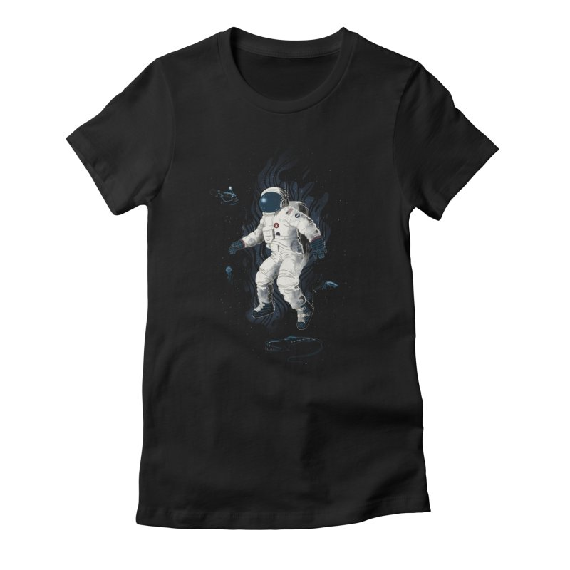 Lost in the abyss of space Women's Fitted T-Shirt by oktopussapiens's Artist Shop