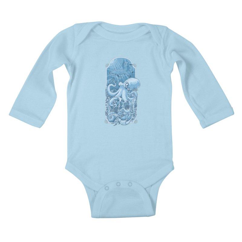 Sea life Kids Baby Longsleeve Bodysuit by oktopussapiens's Artist Shop