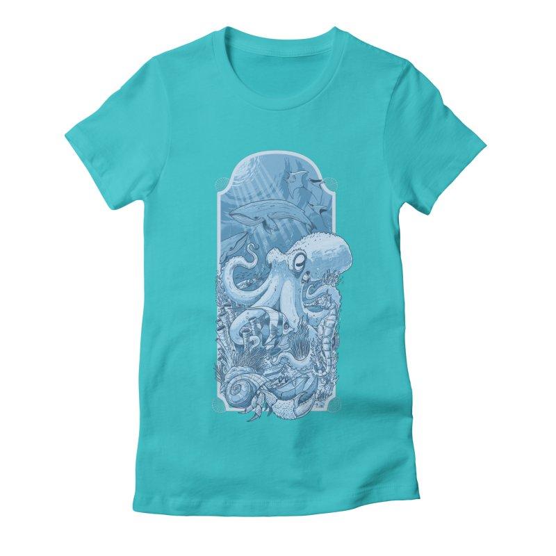Sea life Women's Fitted T-Shirt by oktopussapiens's Artist Shop
