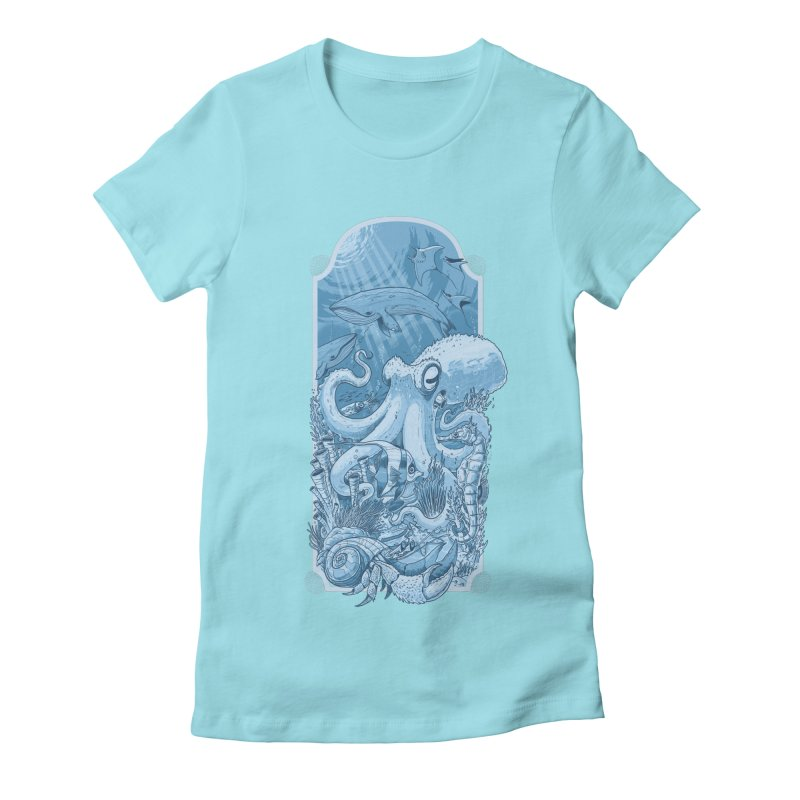 Sea life Women's Fitted T-Shirt by oktopussapiens's Artist Shop