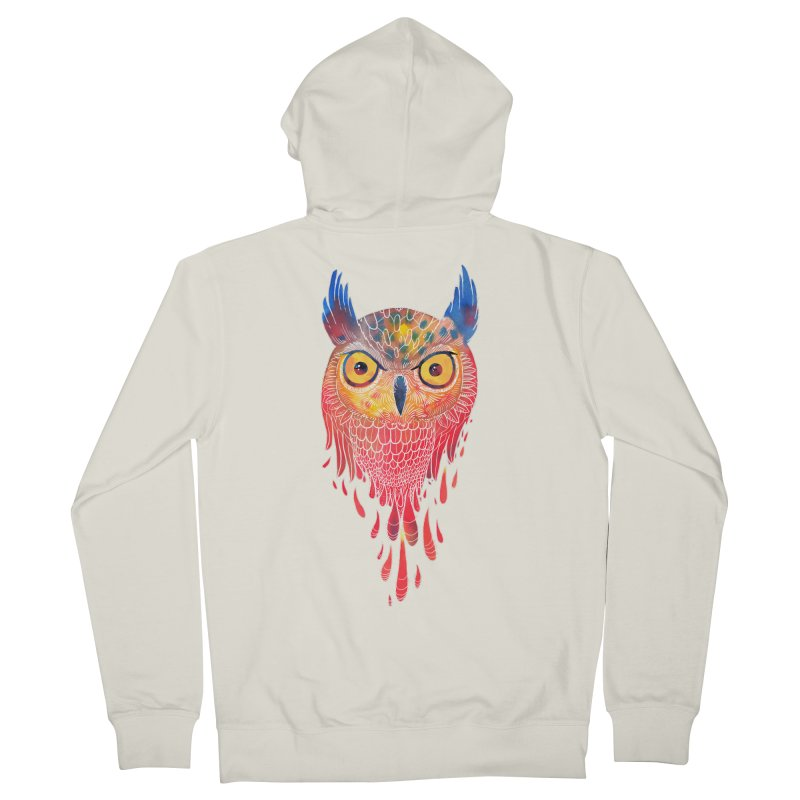 Watercolowl Women's Zip-Up Hoody by oktopussapiens's Artist Shop