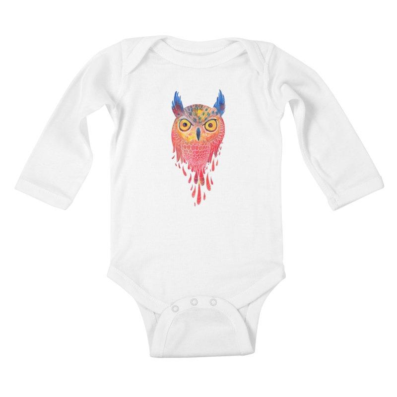 Watercolowl Kids Baby Longsleeve Bodysuit by oktopussapiens's Artist Shop