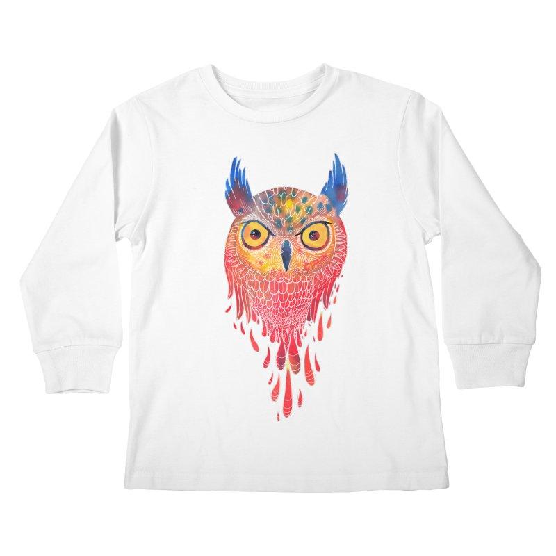Watercolowl Kids Longsleeve T-Shirt by oktopussapiens's Artist Shop