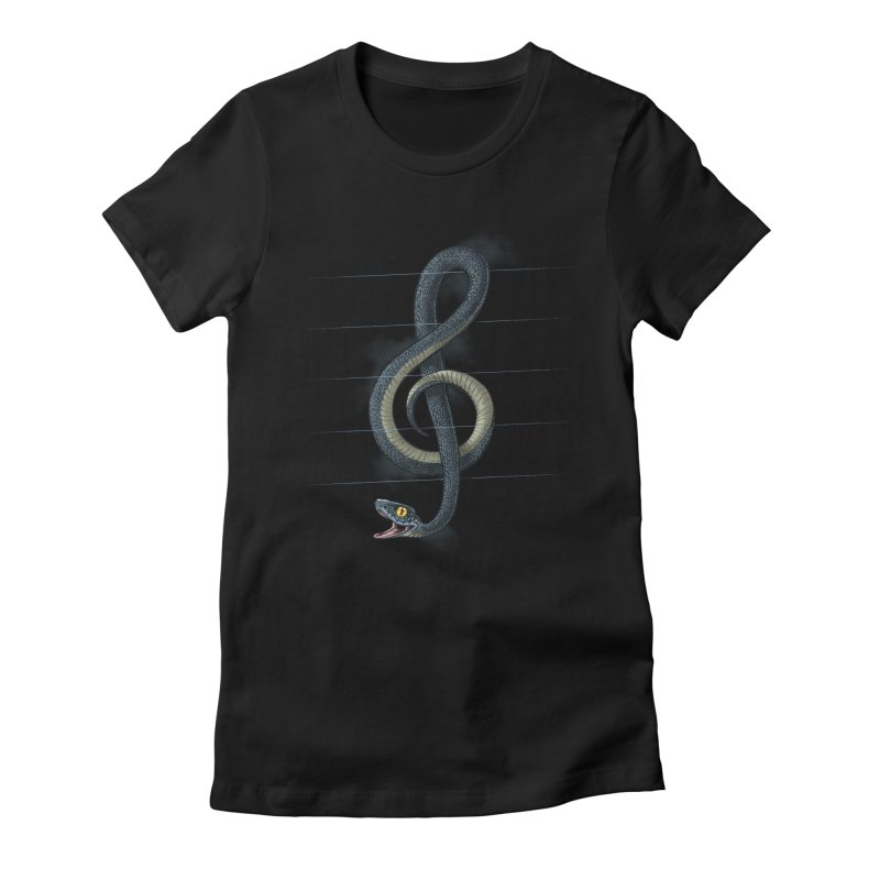 Snake note Women's Fitted T-Shirt by oktopussapiens's Artist Shop