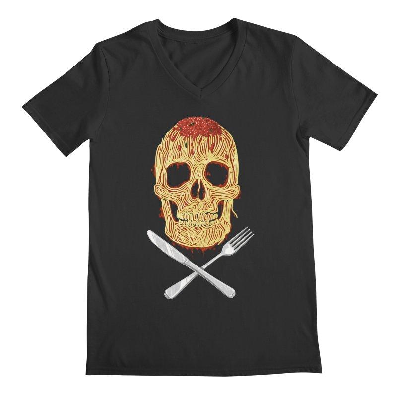 Spaghetti skull Men's V-Neck by oktopussapiens's Artist Shop