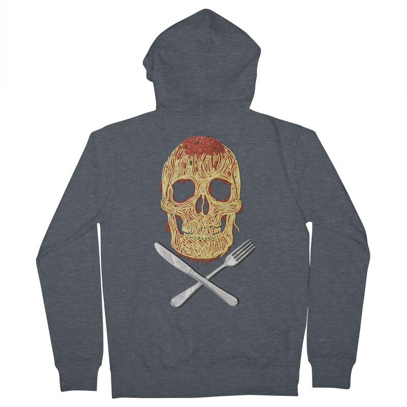 Spaghetti skull Men's French Terry Zip-Up Hoody by oktopussapiens's Artist Shop