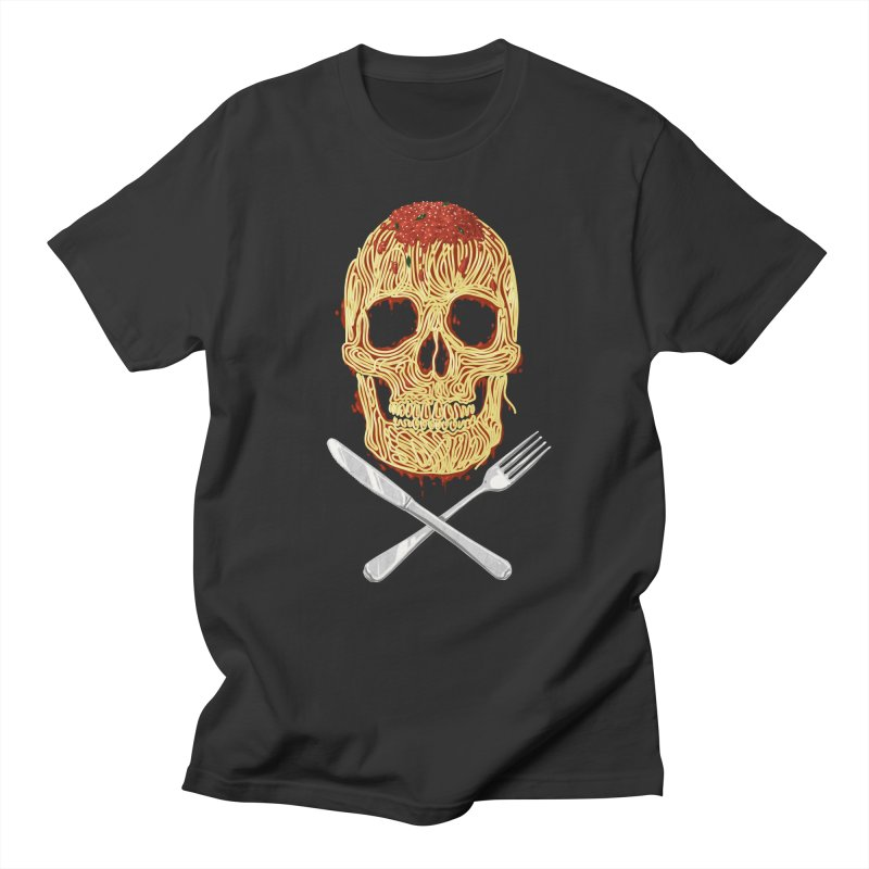 Spaghetti skull Men's Regular T-Shirt by oktopussapiens's Artist Shop
