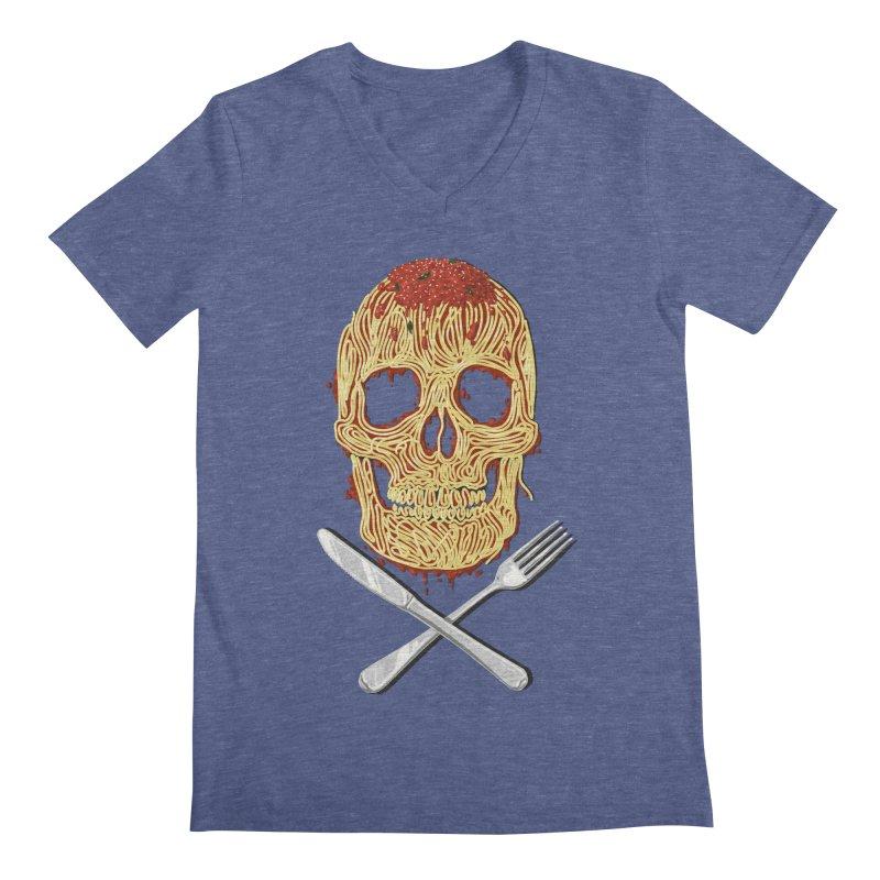 Spaghetti skull Men's Regular V-Neck by oktopussapiens's Artist Shop