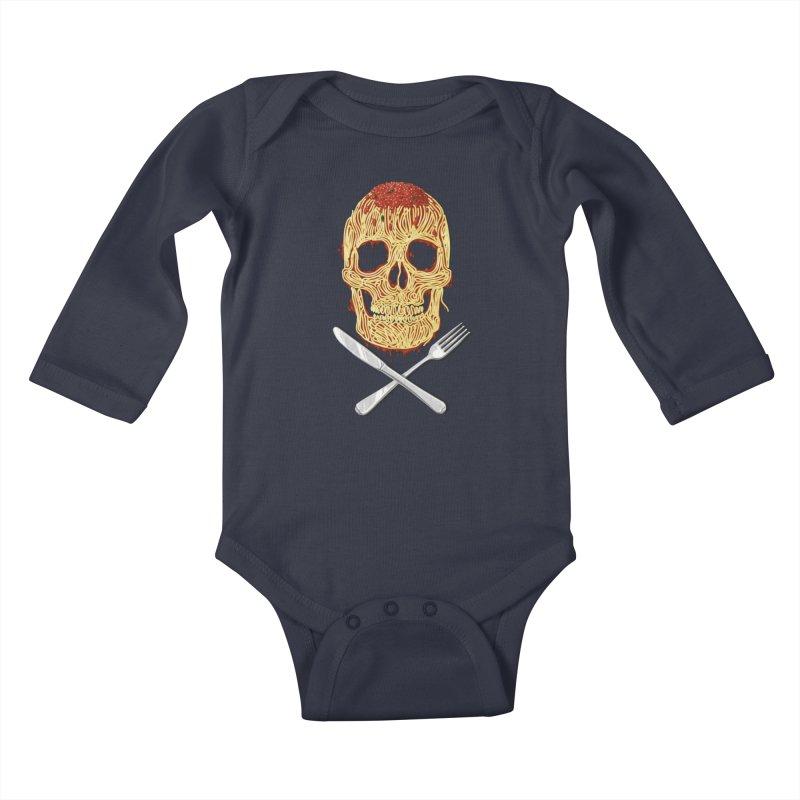 Spaghetti skull Kids Baby Longsleeve Bodysuit by oktopussapiens's Artist Shop