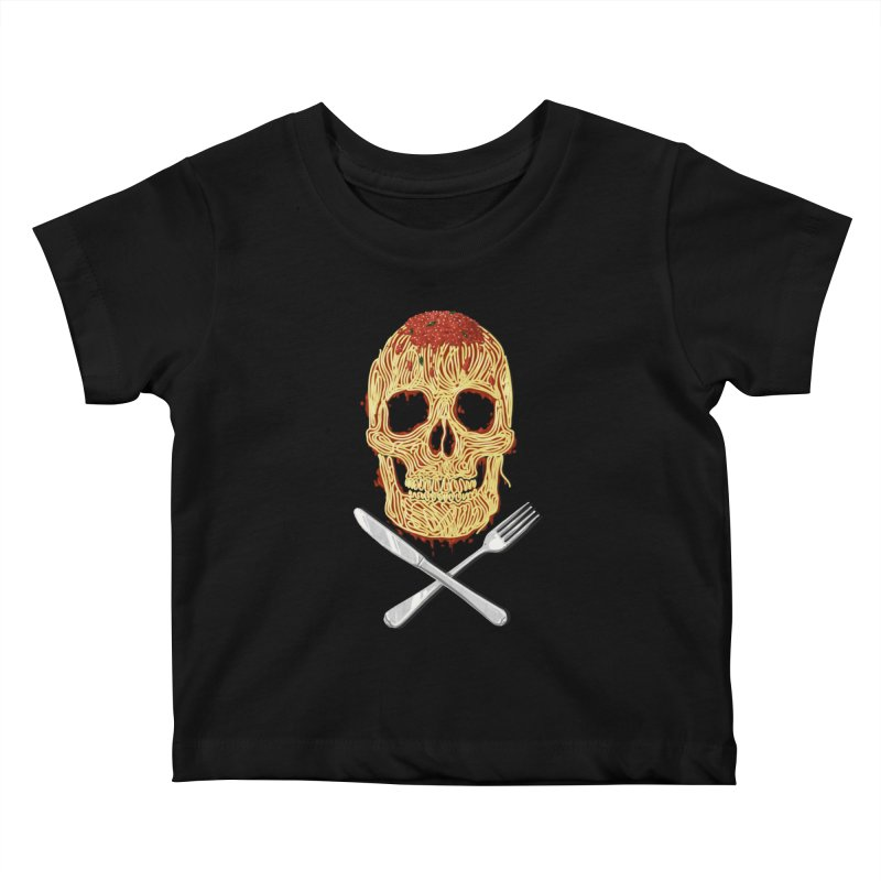 Spaghetti skull Kids Baby T-Shirt by oktopussapiens's Artist Shop