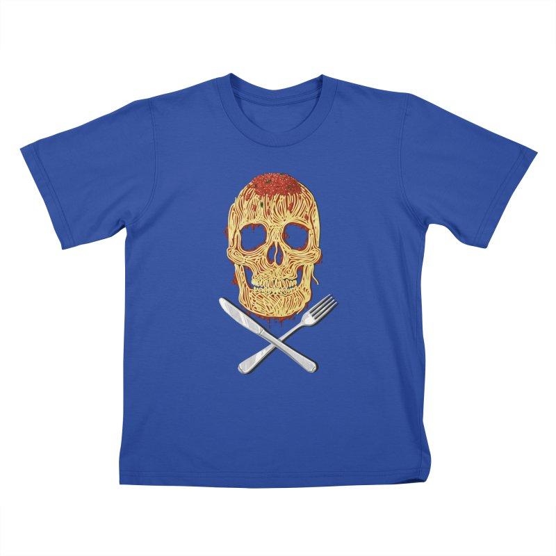 Spaghetti skull Kids T-Shirt by oktopussapiens's Artist Shop