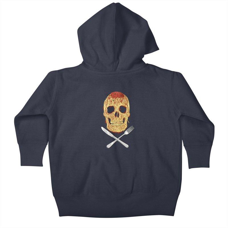 Spaghetti skull Kids Baby Zip-Up Hoody by oktopussapiens's Artist Shop