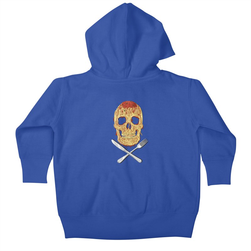 Spaghetti skull Kids Baby Zip-Up Hoody by oktopussapiens's Artist Shop