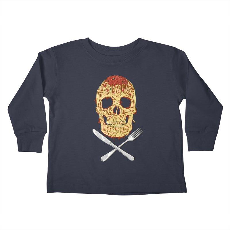 Spaghetti skull Kids Toddler Longsleeve T-Shirt by oktopussapiens's Artist Shop