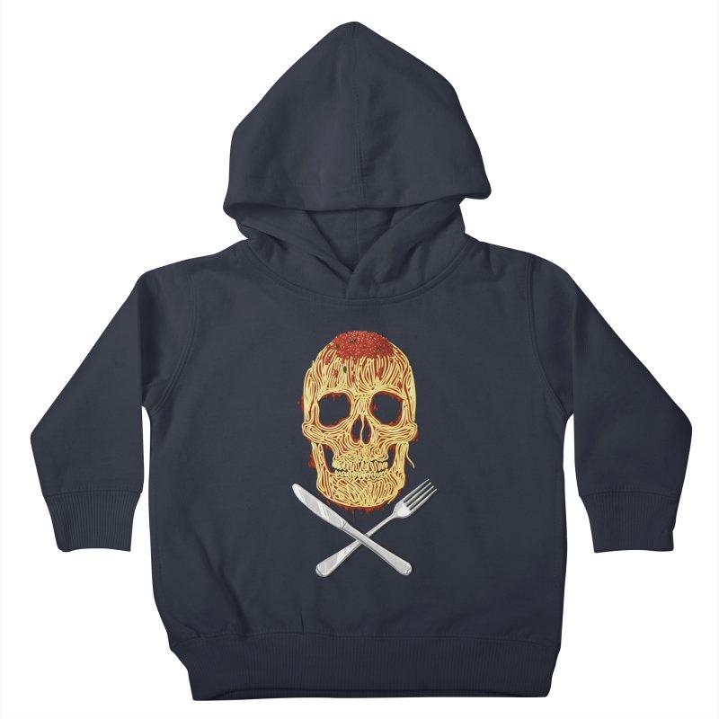 Spaghetti skull Kids Toddler Pullover Hoody by oktopussapiens's Artist Shop