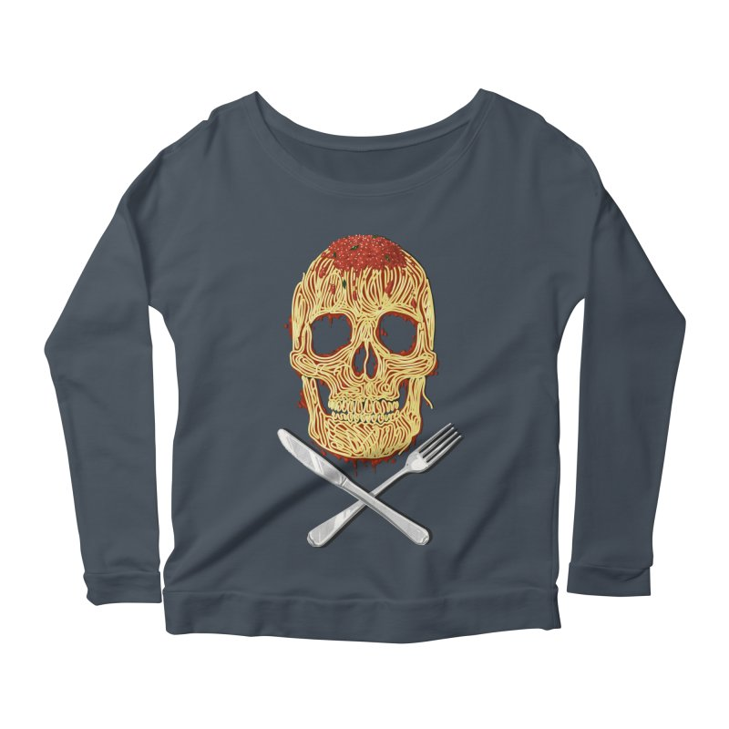 Spaghetti skull Women's Scoop Neck Longsleeve T-Shirt by oktopussapiens's Artist Shop