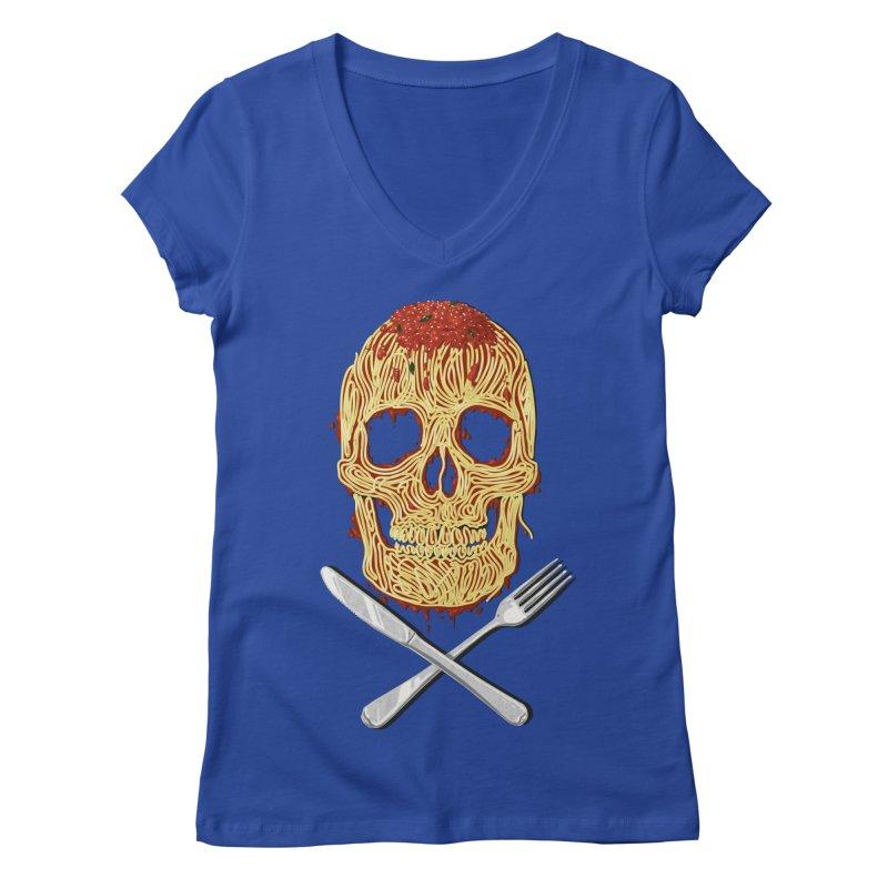 Spaghetti skull Women's Regular V-Neck by oktopussapiens's Artist Shop