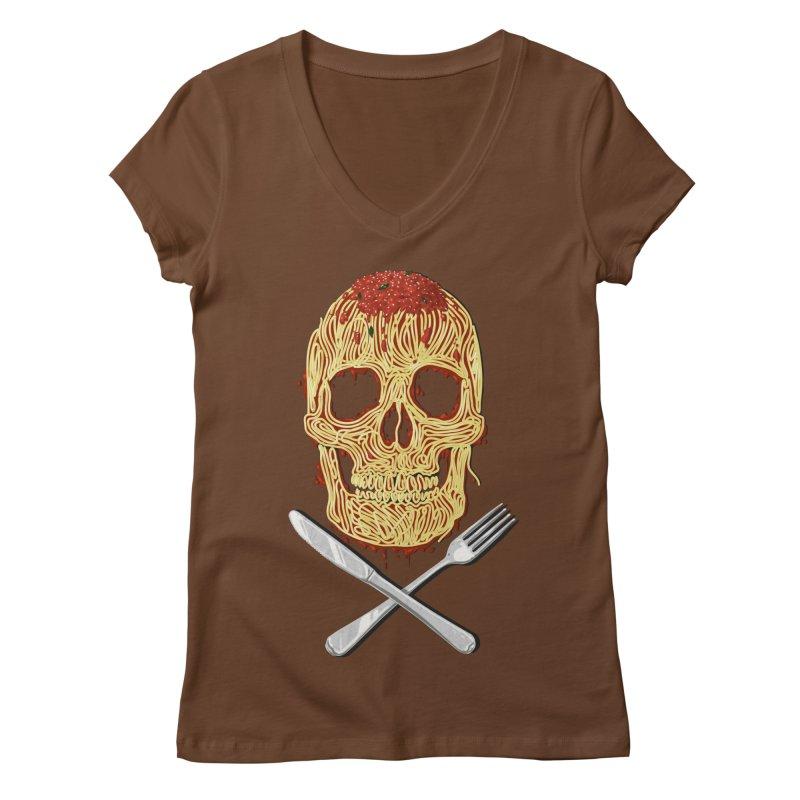 Spaghetti skull Women's V-Neck by oktopussapiens's Artist Shop