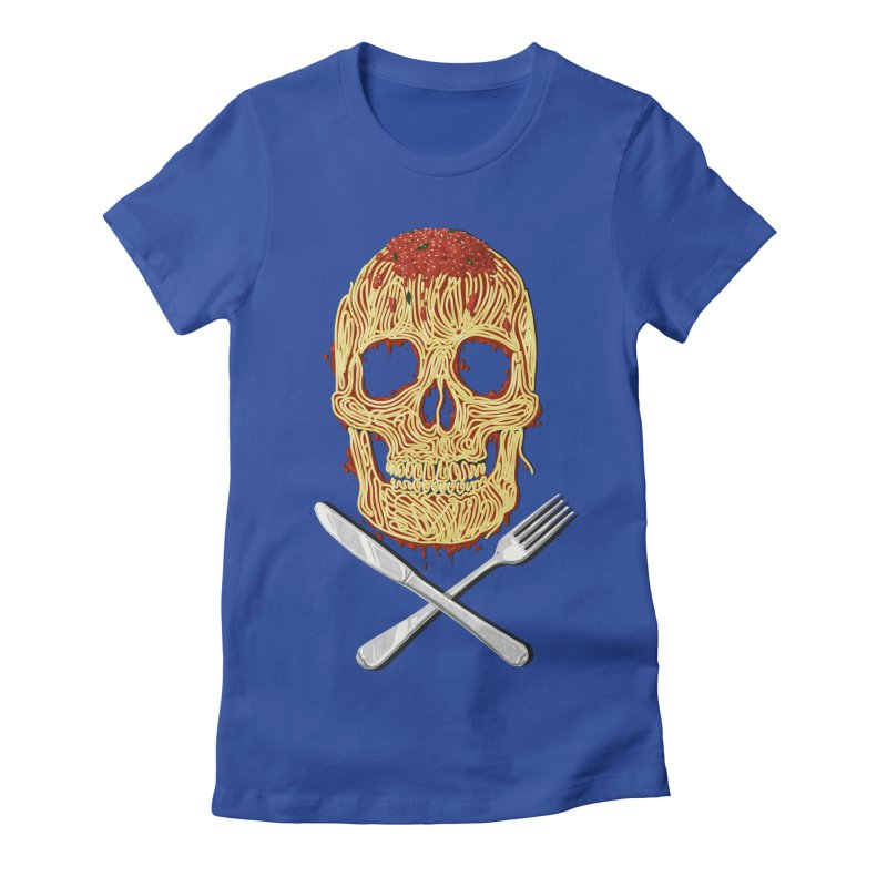 Spaghetti skull Women's Fitted T-Shirt by oktopussapiens's Artist Shop