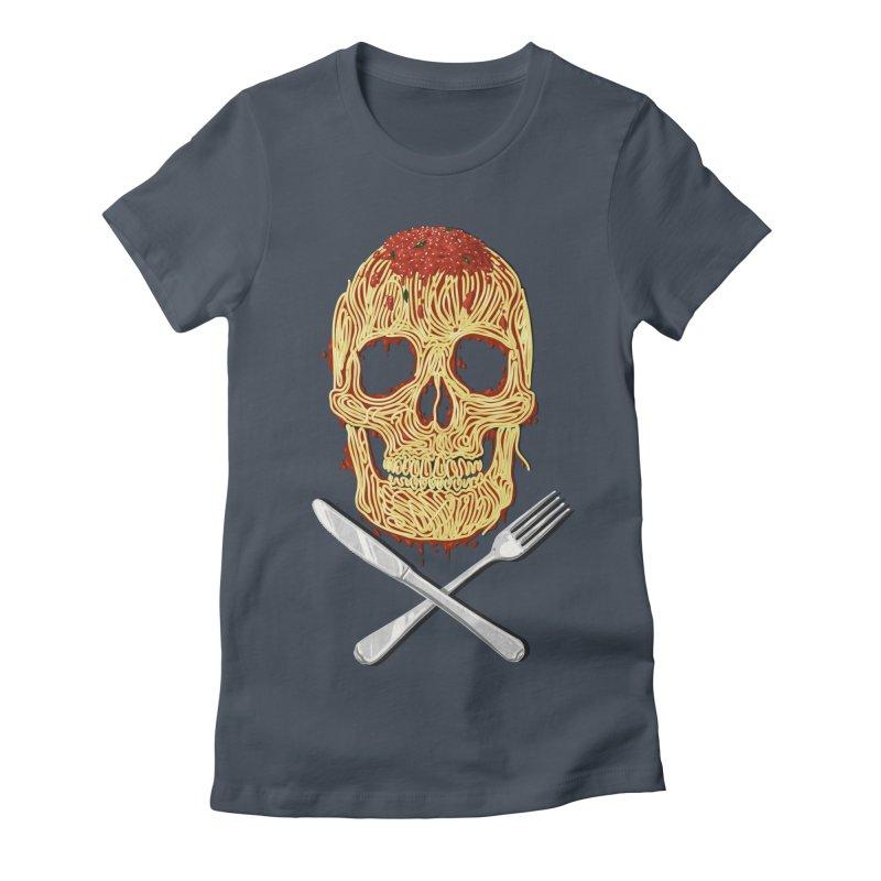 Spaghetti skull Women's Fitted T-Shirt by oktopussapiens's Artist Shop