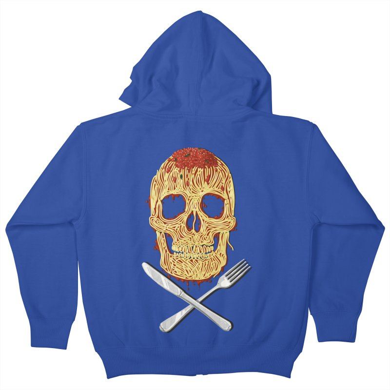 Spaghetti skull Kids Zip-Up Hoody by oktopussapiens's Artist Shop