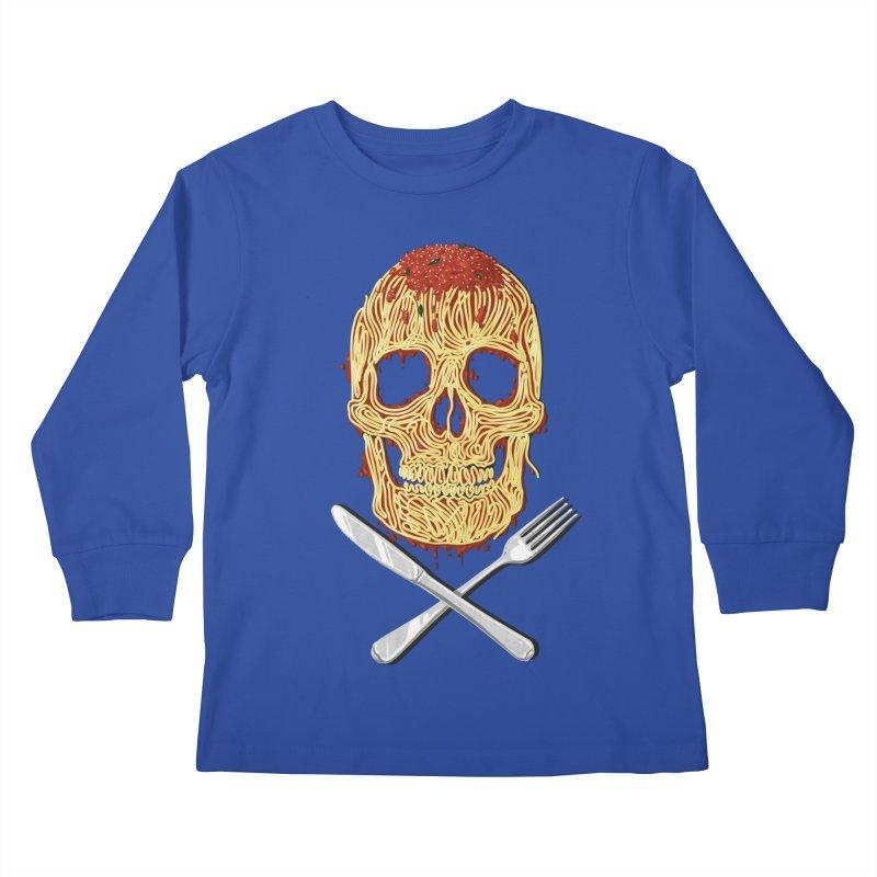 Spaghetti skull Kids Longsleeve T-Shirt by oktopussapiens's Artist Shop